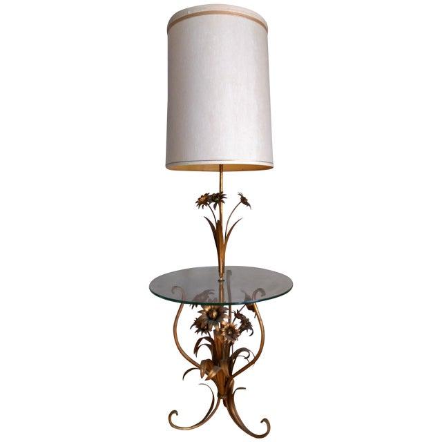 Italian Toleware Gilded Flower Floor Lamp Table For Sale