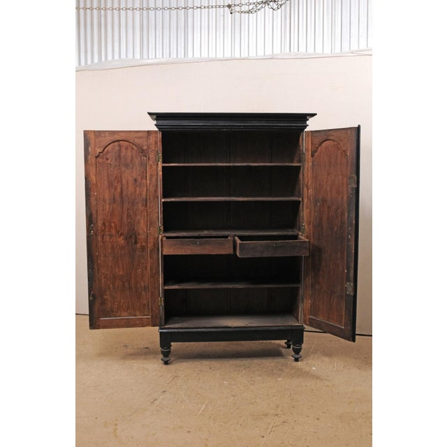 Black Tall Mid-20th Century British Colonial Ebonized Wood Cabinet For Sale - Image 8 of 12