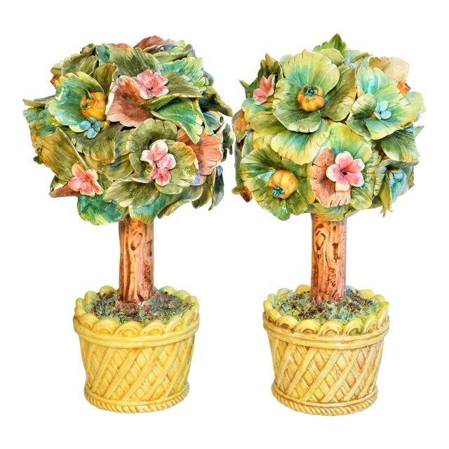 Vintage Italian Majolica Topiary Trees - A Pair For Sale