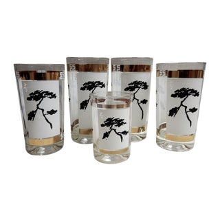 Pagoda Tree Glasses - Set of 5 For Sale