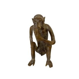 "Superb Bronze AfricanTribal/ Ashanti Akan of a Monkey I Coast 4.25"" H by 3.5""w For Sale"