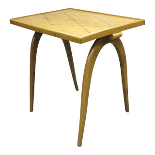 Belgian Inlaid Sycamore Side Table Attributed to Alfred Chambon For Sale