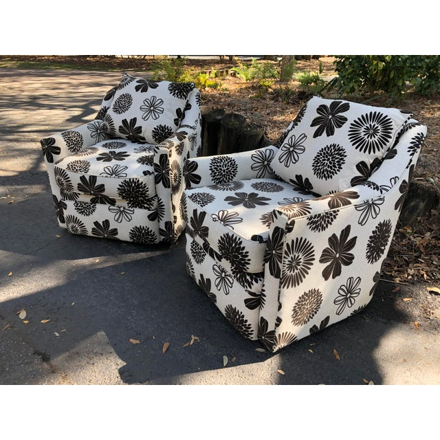 Contemporary Rowe Furniture Swivel Chairs - a Pair For Sale - Image 3 of 12