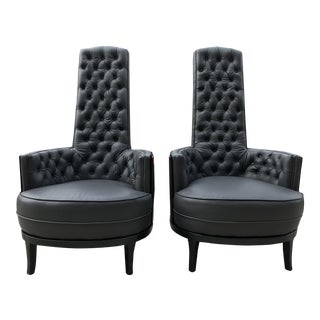 Vintage Mid Century Modern Adrian Pearsall Gray Leather Tufted Black Velvet Occasional Chairs- a Pair MCM For Sale