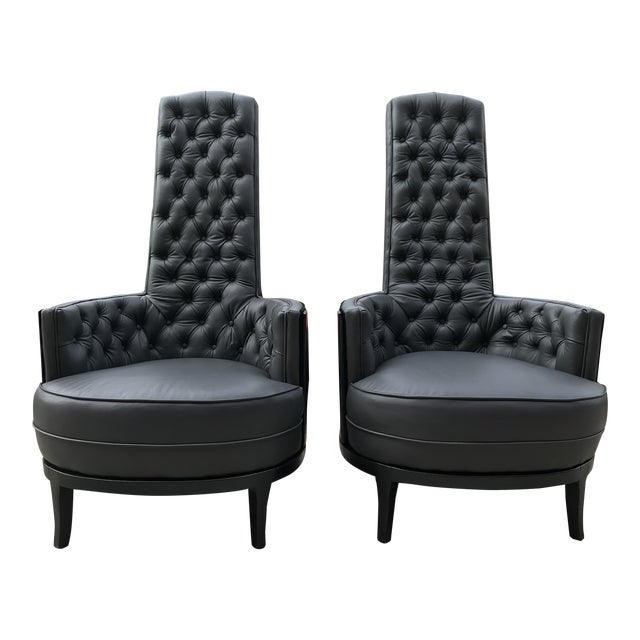 Vintage Mid Century Modern Adrian Pearsall Gray Leather Tufted Black Velvet Occasional Chairs- a Pair Mid-Century Modern For Sale