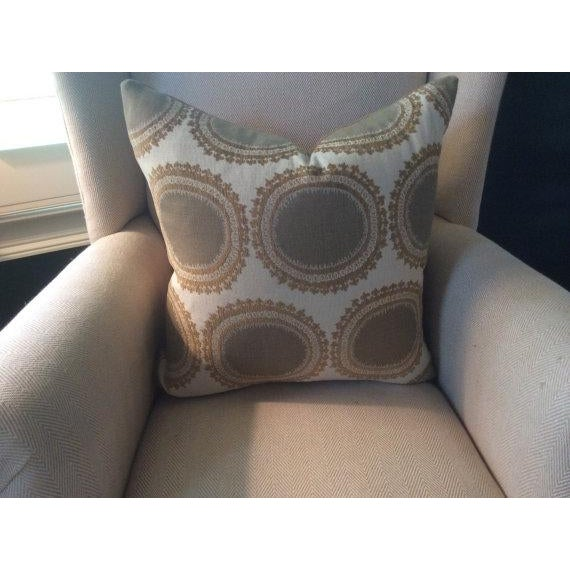 Kravet Pillows in Toffee Brown & Gray Geometric Woven Dots on Ivory - a Pair - Image 2 of 6