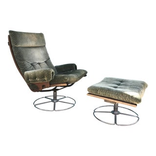 Bruno Mathsson for Dux Swivel Chair and Ottoman For Sale