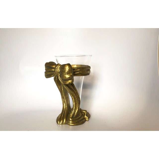 20th Century French Glass Vase on Gilt Bow Stand For Sale - Image 4 of 10