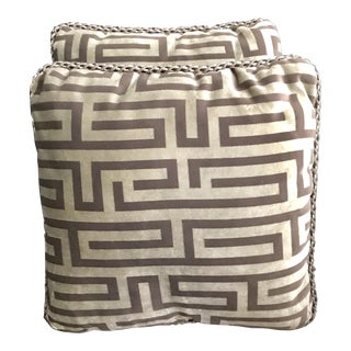 Neoclassical New Gray and Taupe Velvet Square Pillows - a Pair For Sale