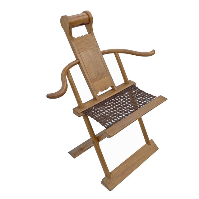 Chinoiserie Chinese Elm Wood Wool Seat Wide Arm Folding Armchair For Sale - Image 3 of 8