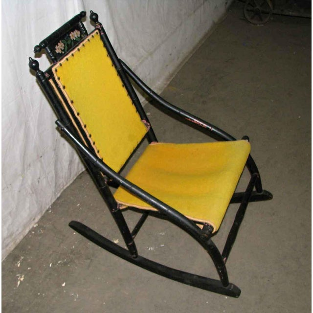 Victorian Rocker With Studded Yellow Upholstery For Sale - Image 5 of 9