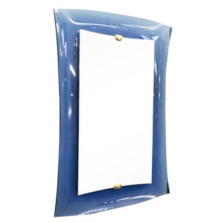 Cristal Arte Blue Glass Frame Model 2712 Mirror For Sale