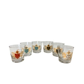 Set of 6 Rocks Glasses With Colored Lion Emblems For Sale