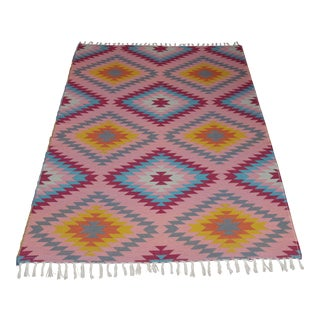 "Reversible Flat Weave Diamond Wool Kilim Rug - 5'3"" x 7'6"""
