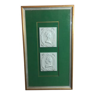 Vintage Georgian Era Framed Ceramic Tiles For Sale