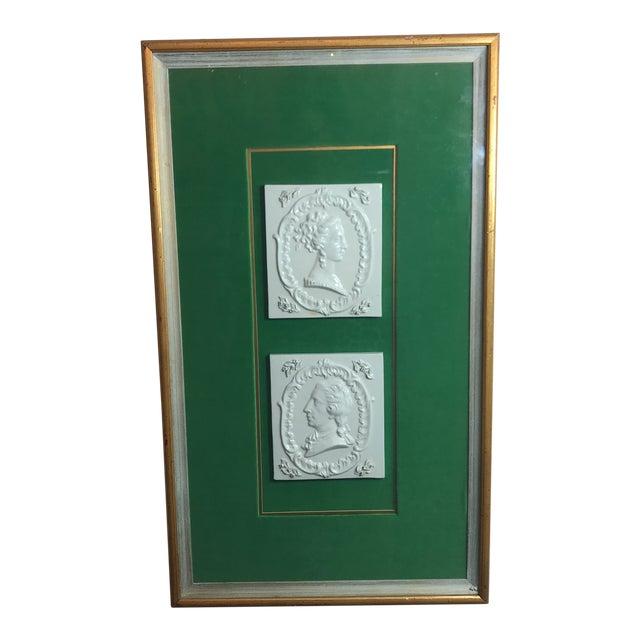 Vintage Georgian Era Framed Ceramic Tiles For Sale