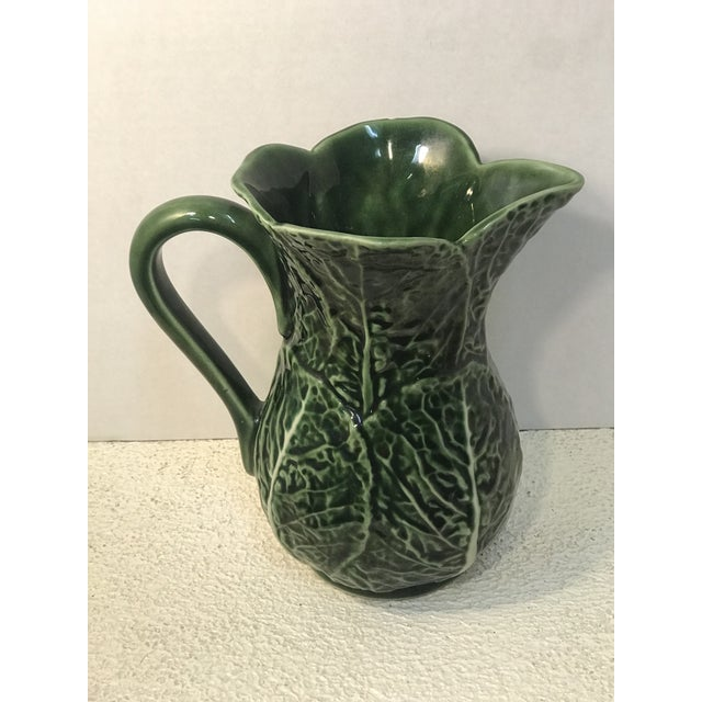 Vintage green cabbage Majolica pitcher made in Portugal.