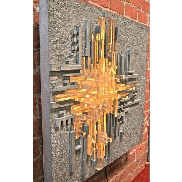 "Poliarte Poliarte by Akikaze Illuminated Wall Sculpture ""Rottura Spaziale"" For Sale - Image 4 of 6"
