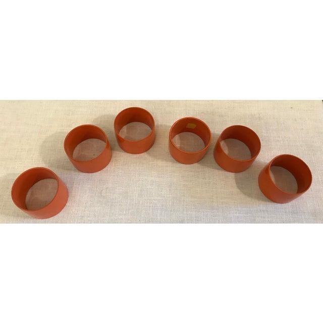 Mid-Century Modern Orange Napkin Rings - Set of 6 For Sale - Image 4 of 9