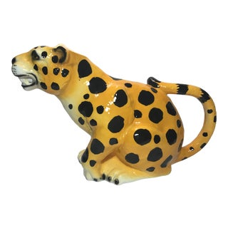 Hand-Painted Ceramic Leopard Pitcher For Sale