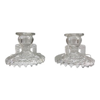Early 20th Century Art Deco Brilliant Cut Glass Candle Holders - a Pair For Sale