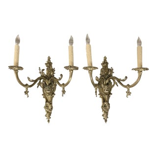 Grand Pair 19th Century Louis XV Cast Bronze Gasolier Electrified Wall Sconces For Sale