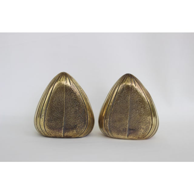 Mid-Century Modern 1950s Vintage Ben Seibel Jenfred-Ware Brass Clam Bookends - A Pair For Sale - Image 3 of 8