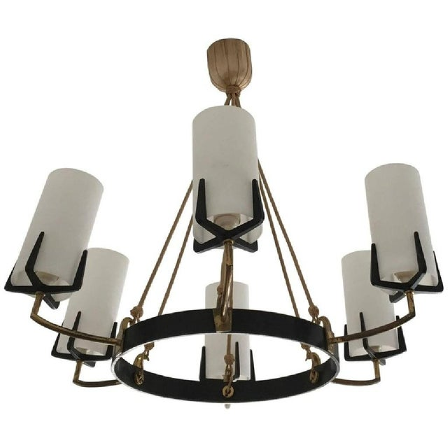 Large Mid-Century Brass & Opaline Chandelier by Rupert Nikoll For Sale - Image 11 of 11