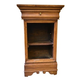 Antique Primitive Chestnut Wood End Side Table Nightstand For Sale