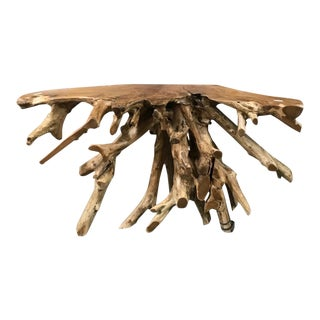 Organic Modern Natural Teak Root Console Table For Sale
