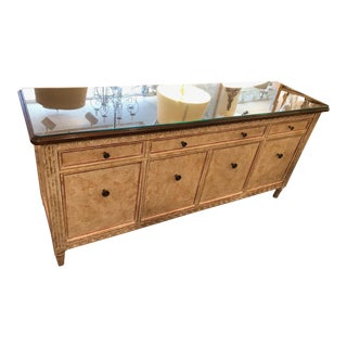 Crackle Finish Glass Top Buffet For Sale