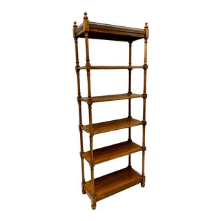 Mid-Century Carved Etagere or Shelf With Brass Gallery For Sale