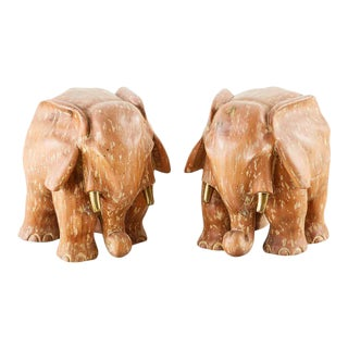 Carved Elephant Drink Table Sculptures - a Pair For Sale