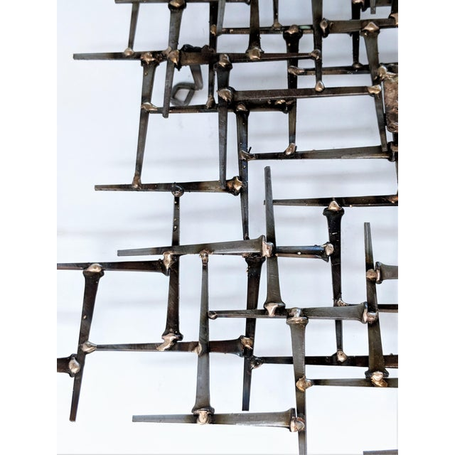 Abstract Nail & Bronze Wall Jere Style Sculpture For Sale - Image 9 of 12