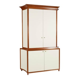 Neoclassical Mahogany and Faux Parchment Media Cabinet For Sale