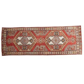 "Distressed Oushak Rug Runner - 4'3"" X 12'3"" For Sale"