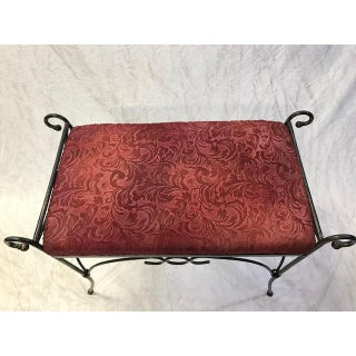 Vintage Mid Century Wrought Iron Hollywood Regency Curule Vanity Bench Preview