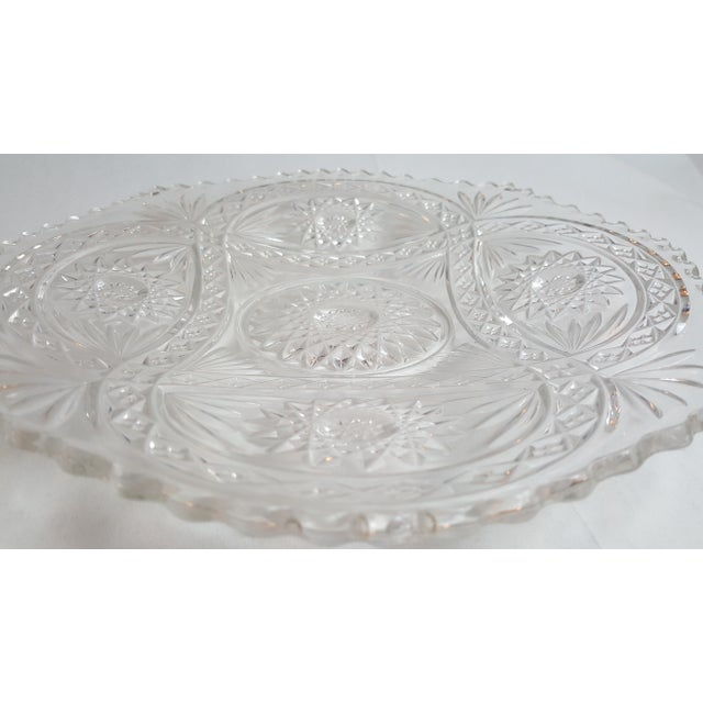 Shallow Patterned Glass Bowl/Platter For Sale - Image 4 of 4