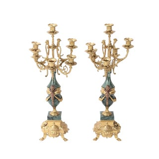 20th Century Italian Brevettato Green Marble Cherub Brass Candelabrums - a Pair For Sale
