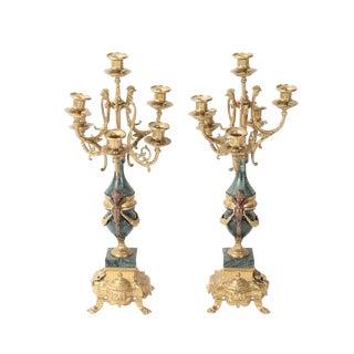 20th Century Italian Brevettato Green Marble Cherub Brass Candelabrums - a Pair For Sale