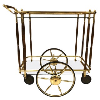1960s Brass and Walnut Two-Tier Bar Cart For Sale