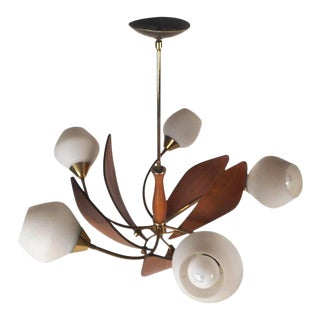 Gorgeous Mid-century Modern Teak Hanging Chandelier For Sale