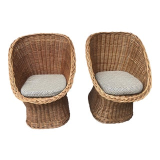 1960's Vintage Wicker Scoop Chairs & Cushions - A Pair For Sale