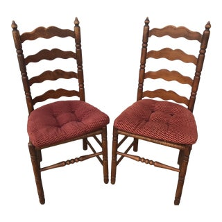 1970s Vintage Italian Rush Seating Caned Farm Chairs- A Pair For Sale