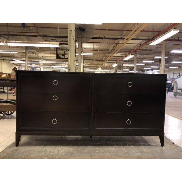 The Six Drawer Low Dresser is a first quality sample that features a London Brown finish with polished nickel hardware.