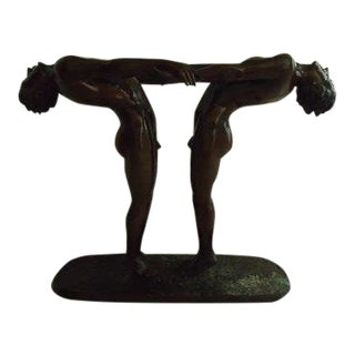 """Large 20th C. Bronze Sculpture """"Two Nude Young Males"""" For Sale"""