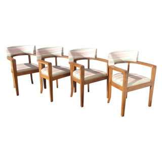 Vintage Mid Century Danish Modern Leather Arm Chairs - Set of Four For Sale