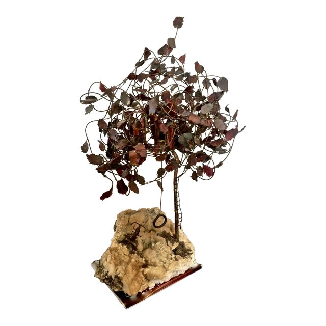 Geode Brass Tree Sculpture For Sale