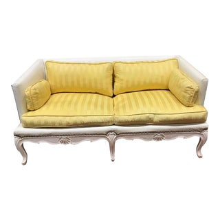 1960s Vintage French Mason-Art Ny Custom Made White Vinyl Sofa For Sale