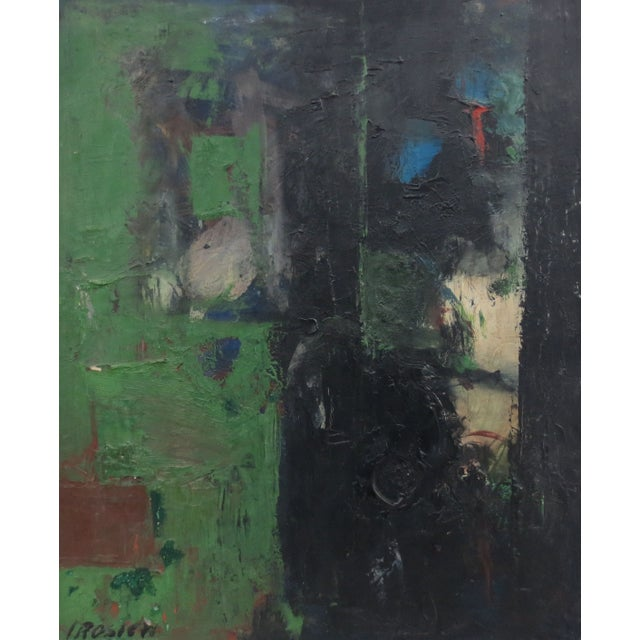 Vintage Green Abstract Painting by Rosien - Image 3 of 5